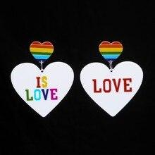 Rainbow Heart Stud Earrings Acrylic Girl Letter Love  Personality Fashion Jewelry