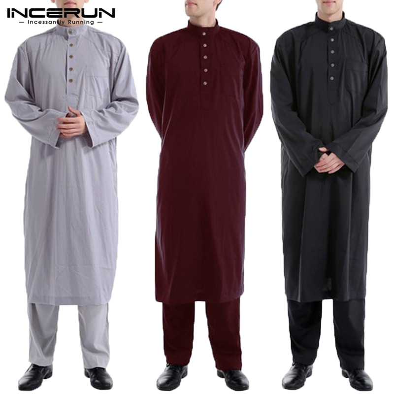 INCERUN Men Islamic Robe Kaftan Dress Long Sleeve Solid Color Loose Vintage Muslim Jubba Thobe Clothing Saudi Arab Mens Clothing