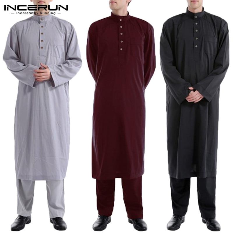 INCERUN Men Islamic Robe Kaftan Dress Long Sleeve Solid Color Loose Vintage Muslim Jubba Thobe Clothing Saudi Arab Mens Clothing