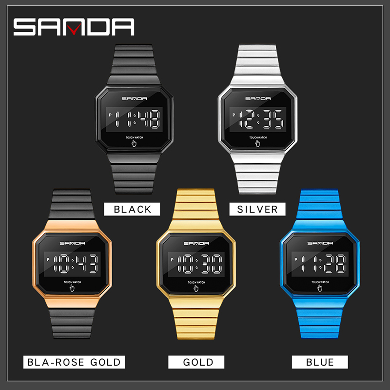 Creative Fashion Clock LED Touch Screen Watches Digital Watch Men Fashion Simple Alloy Band Electronic Wristwatches Reloj Montre 6