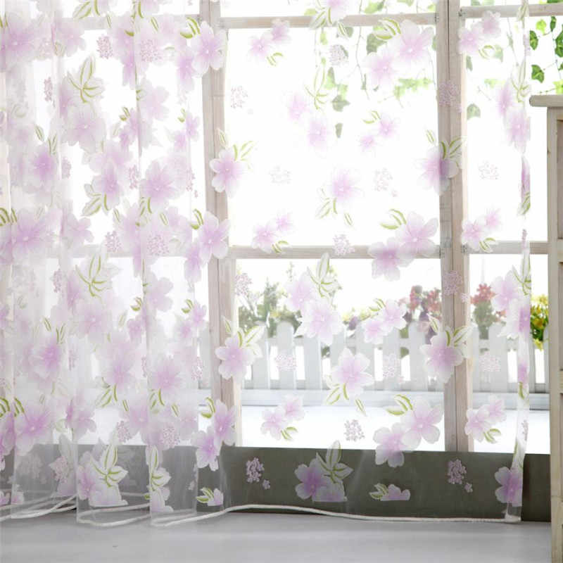 200*100CM Window Gauze Tulle Peach Blossom Flower Door Window Hanging Blinds Transparent Home Floral Window Screening Sheet #B30