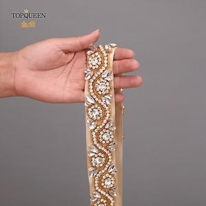 Image 5 - Topqueen S164 G Gold Diamond Riem Trouwjurk Riem Goud Bruidsmeisje Riem Strass Riem Champagne Bruids Riem Rodeo Riemen