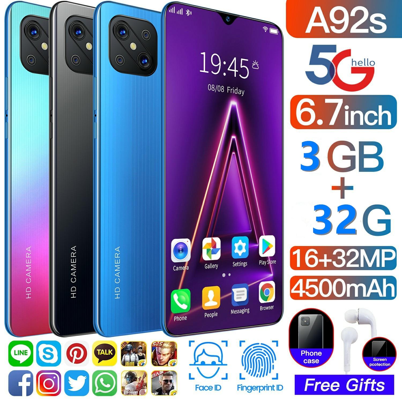 Смартфон Rugum A92S, 3 Гб оперативной памяти, Оперативная память 32GB Встроенная память 6,7 дюймов HD Большой Экран 4 аппарат не привязан к оператору с...
