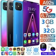 Telefone inteligente rugum a92s 3gb ram 32gb rom 6.7 Polegada hd tela grande 4g lte smartphone android 9.0 desbloqueado duplo sim telefone móvel
