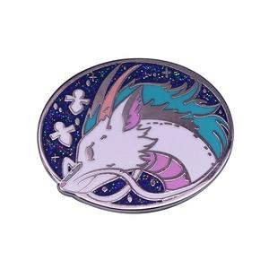 Haku the river dragon brooch blue shiny art pin the magic and night sky scene charm jewelry(China)