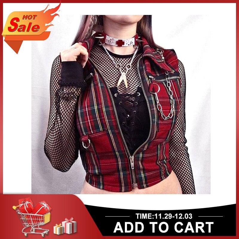 Red Gothic Women  Zipper Top 1