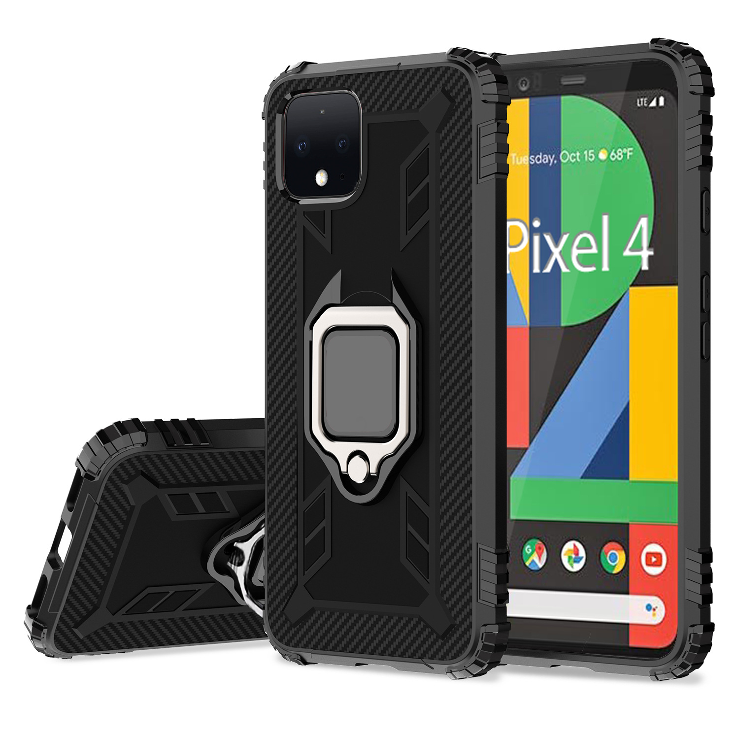 For Google Pixel 5 4 XL Case Soft Silicone Carbon Fiber With Stand Ring Protective Back Cover Case For Pixel 4A 4XL Pixel5 Shell