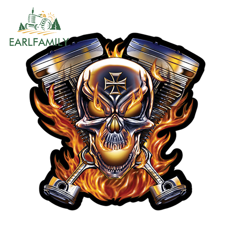 EARLFAMILY 12cm X 12cm Biker Skull Flames Engine Decal Window Car Laptop Toolbox Auto Motorcycle Decoration Car Sticker