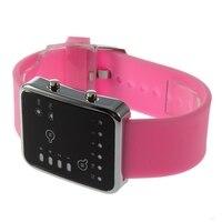 Esporte led relógios rosa moda feminina relógio de pulso quadrado casal presente silicone marca de luxo silicone led binary watch 1