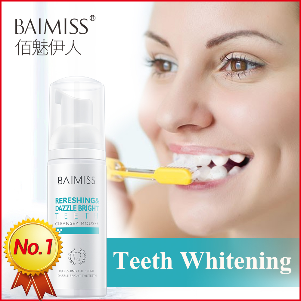 BAIMISS Teeth Whitening Mousse Toothpaste Tooth-Cleaning Fresh Shining Oral Hygiene Removes Plaque Stains Bad Breath Dental Tool