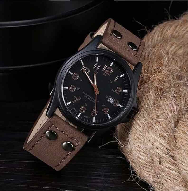 Mens Fashion Sport Watches Men Military Leather High Quality Quartz Wrist Watch Brown Color Hot sale Brand New