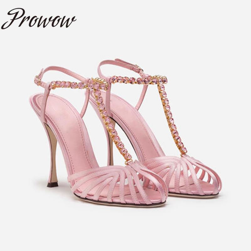 Prowow New 2020 Fashion Black Pink Open Toe Narrow Band Summer Sandals Crystal T Strap Thin HIgh Heel Sandals Shoes Women