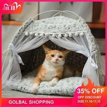 شتاء دافئ سرير للقطط طوي القطط الصغيرة خيمة منزلية هريرة للكلاب سلة سرير لطيف القط منازل المنزل وسادة بيت حيوانات أليفة منتجاتأسرة ومفارش القطط