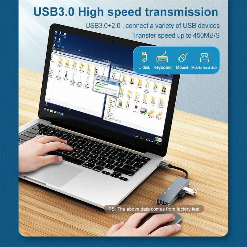 Miracare USB 3.0 High Speed Ports Type-C 6 in 1 USB Type C Hub to USB 3.0 2.0 PD HDMI Adapter Card Reader for MacBook Pro