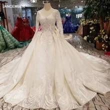 LSS486 haute qualité robes de mariée royal long train col en v à manches longues brillant robe de mariée robe de mariée 2020 nouveau design de mode