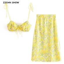 Bra-Crop-Top Tank-Tops Long-Skirt Leaves-Print Yellow Green Midi Sexy 2pieces-Set Women