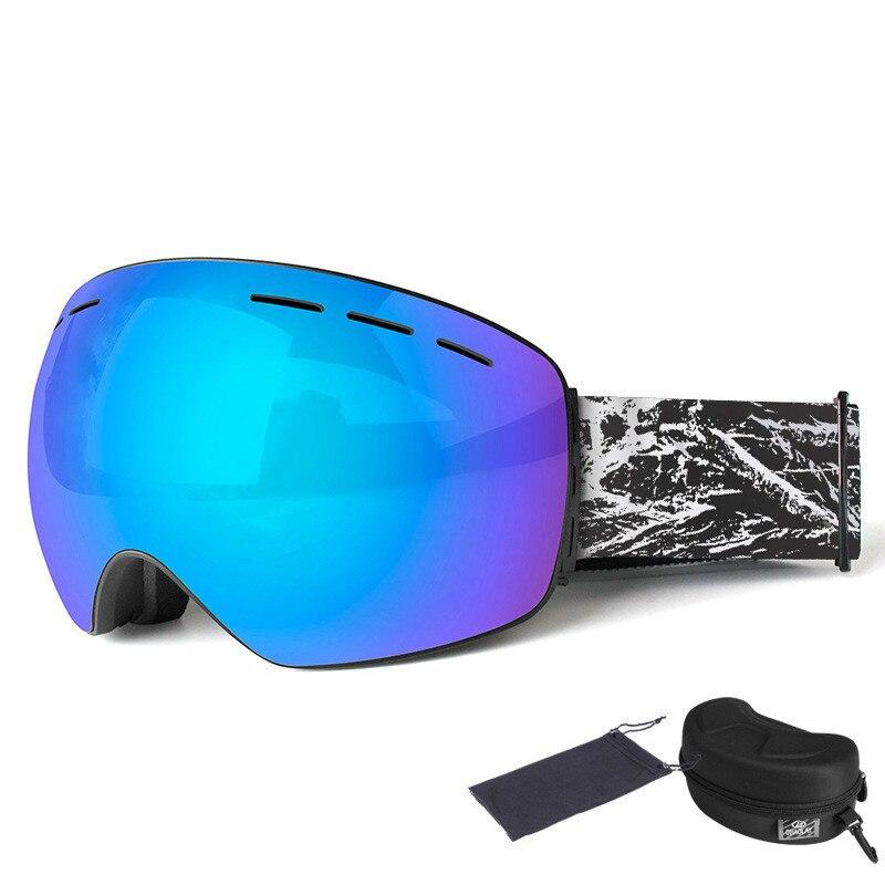 Lunettes de Ski Snowboard Double-pont Anti-buée sphère adulte Double-pont Ski miroir Ski lunettes boîte Set Googles