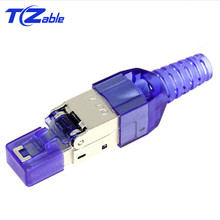 CAT7 Connector Ethernet RJ45 High Quality Shielded Crystal Head Reusable Crystal Head Ethernet Cable Adapter 10 Gigabit Ethernet
