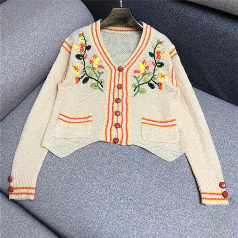 Тяжелая промышленность цветок вышивка контрастная полоса длинный рукав тонкий вязаный свитер
