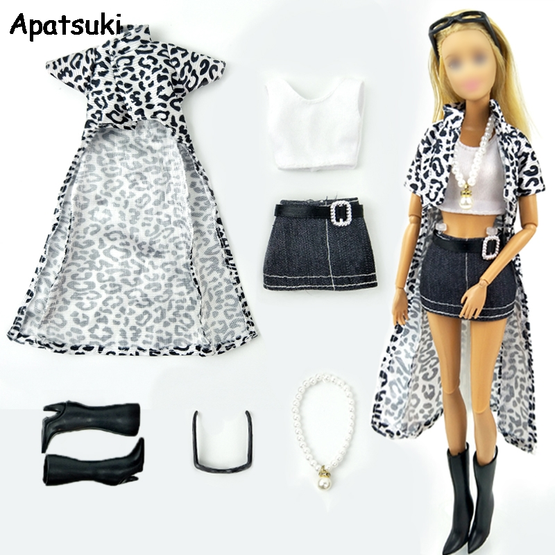 1set 1/6 Dolls Accessories For Barbie Doll Outfits Clothes For Barbie Leopard Long Coat & Vest & Skirt Shoes Necklace Glasses