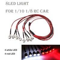 Kit de luces Led blancas y rojas para coche, faros delanteros traseros para 1/10 1/8, accesorios para trepador de Control remoto, simulación de modelo, Control remoto, 8 Uds.