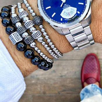 Mcllroy Stopper Bracelets Men Beaded Bend Bar Bracelets Bangle Micro inlay zircon Braiding Men Zircon Bangle pulseira masculina