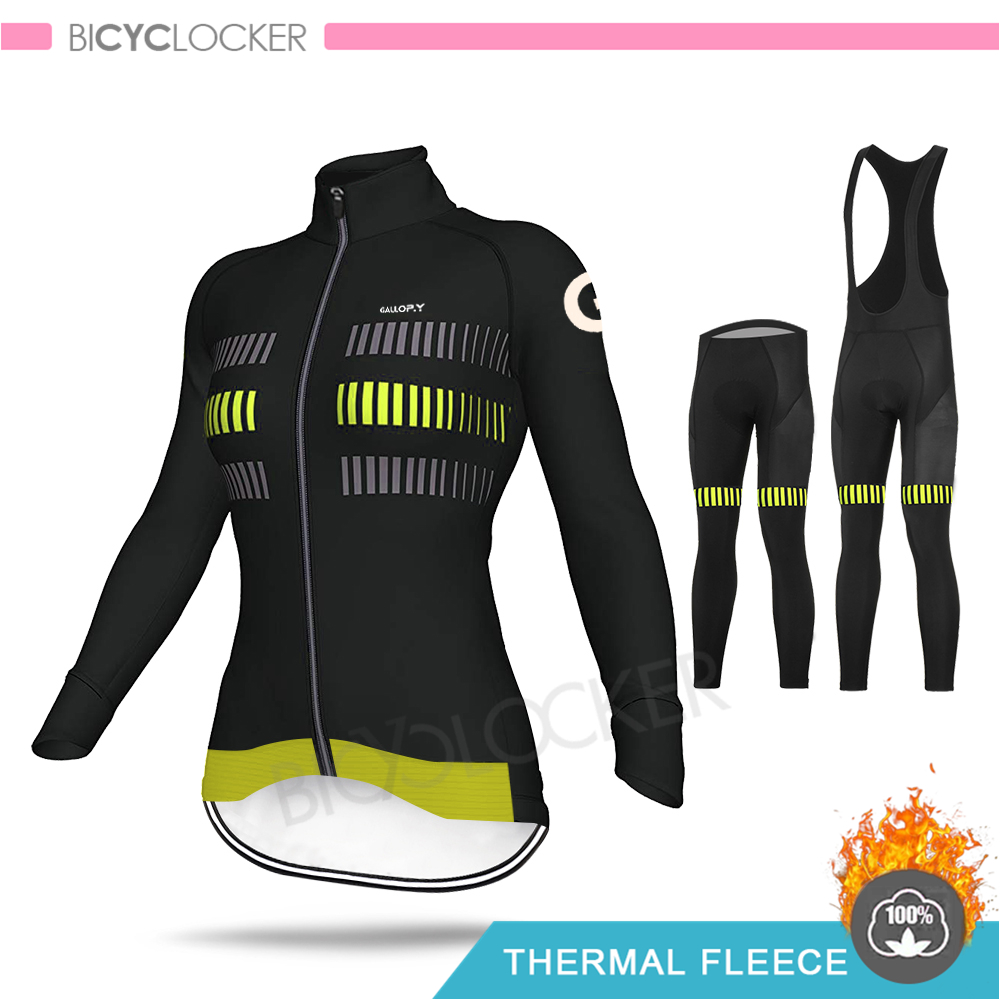 Pro Team Cycling Clothing Women Long Sleeve Jersey KIT Thermal Fleece MTB UNinform Warm Clothes Female Road Bike Raiders Shirts