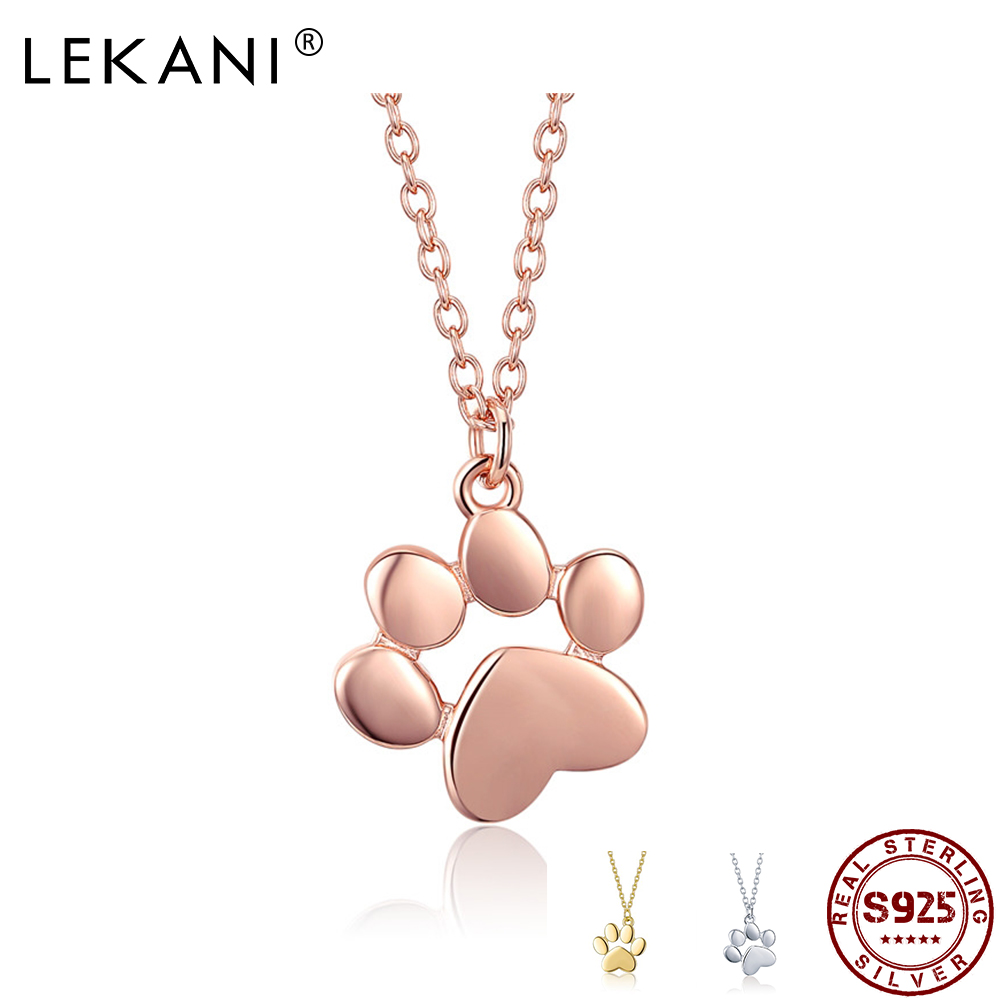 LEKANI HOT SALE Silver & Gold Color Cute Animal Footprints Dog Cat Footprints Paw Necklaces Pendants Women Real Silver Jewelry