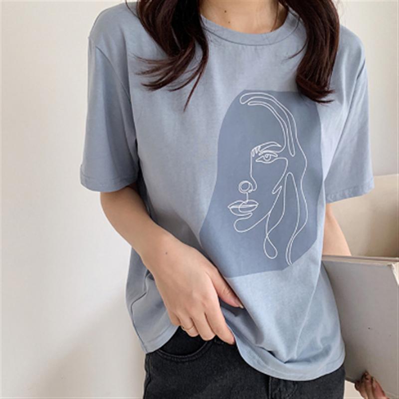 Kadın baskı hattı yüz o-boyun Harajuku tişört kadın kısa kollu günlük T-shirt 2020 moda tatlı yaz üstleri Streetwear