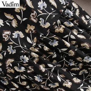 Image 5 - Vadim women elegant floral print midi dress long sleeve female casual straight style loose dresses stylish vestidos mujer QC955