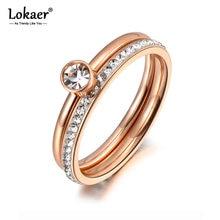 Lokaer – bague de fiançailles 2 en 1 en or Rose et zircone cubique, bijou en titane et acier inoxydable, anneau de mariage pour femmes, R19065