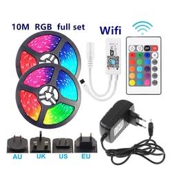 Водонепроницаемая светодиодная лента RGB 5050 светильник в, гибкая лента, Wi-Fi, ИК-контроллер, RGB Диодная лента 1 м, 2 м, 3 м, 4 м, 5 м, 10 м, 15 м с адаптеро...