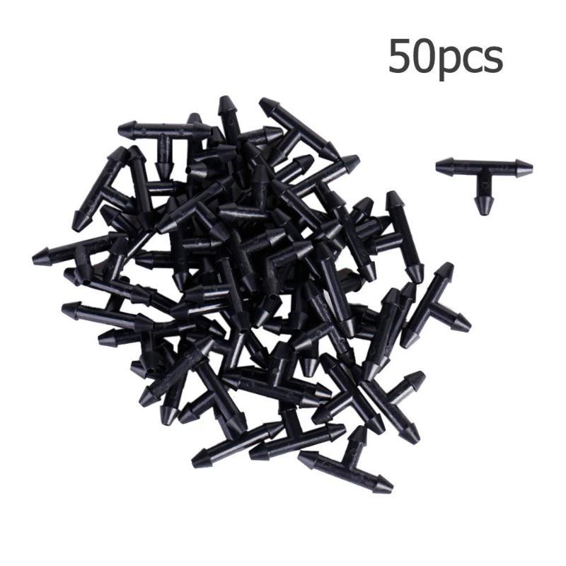 50 piezas 3/5mm manguera de jardín rociador forma T de tres agujeros Micro goteo de la tubería de riego conector de púas sistema de riego parte de conexión 3/4