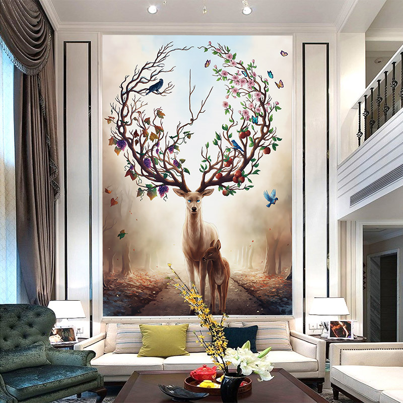 European Style Entrance Background Wallpaper Dreamy Forest Elk Mural 3D Vertical Corridor Hallway Stairs Wallpaper