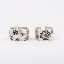 Sterling Silver Mat Finish Oxidized Snowflake Ring