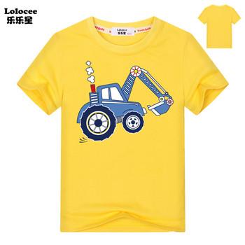 Chłopcy cartoon koparka koszulki koszulki dziecięce bawełniane koszulki z krótkim rękawem odzież topy dzieci spychacz odzież codzienna koszulki tees tanie i dobre opinie Aimi Lakana COTTON Europejskich i amerykańskich style O-neck Pasuje prawda na wymiar weź swój normalny rozmiar Dziewczyny