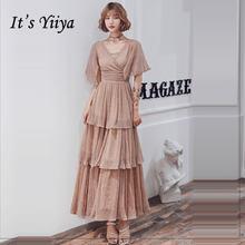 Женское платье с блестками it's yiiya белое элегантное Многоярусное