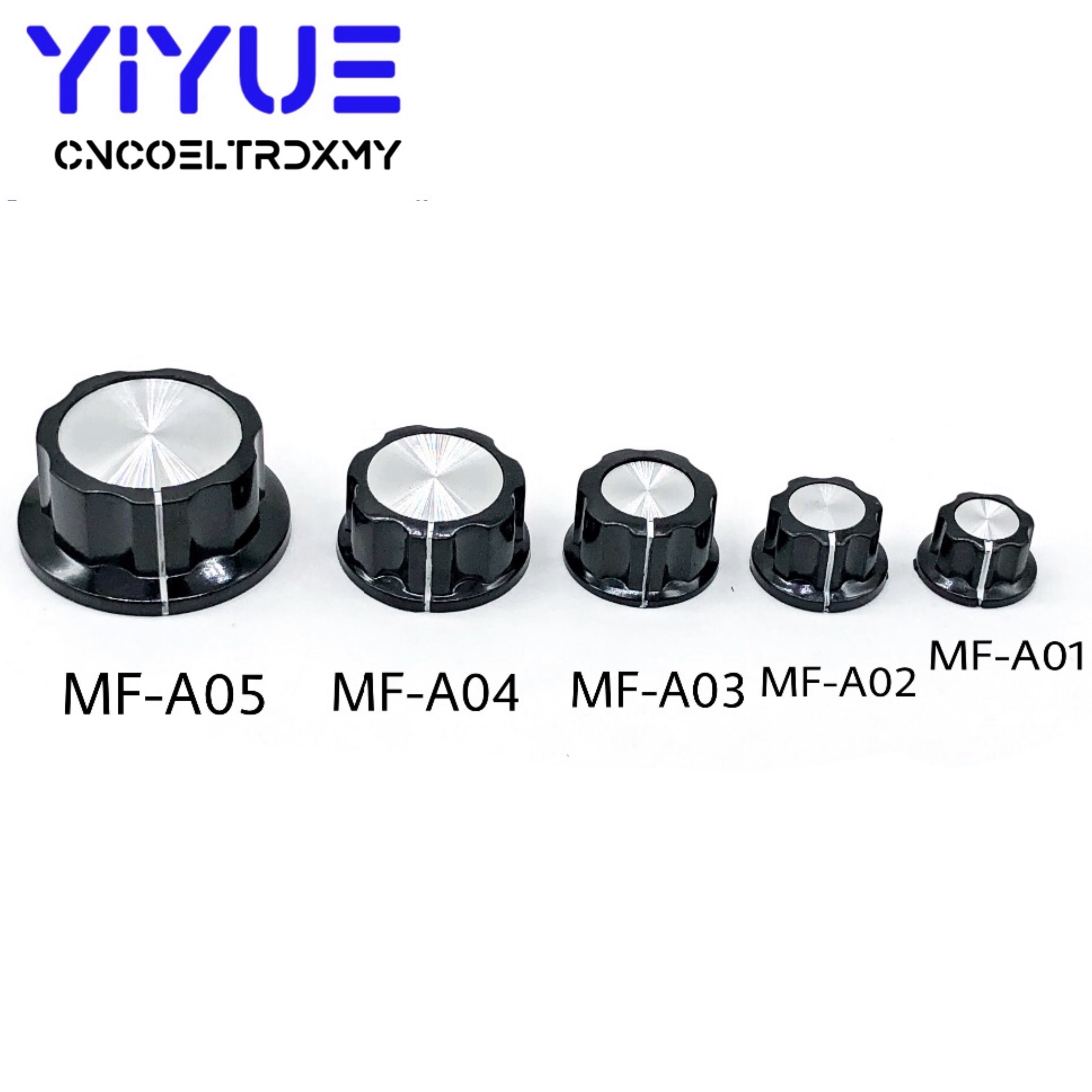 2Pcs Potentiometer Knob Cap 6mm Hole MF-A01 MF-A02 MF-A03 MF-A04 MF-A05 Rotary Switch Knobs Caps WHT118 WX050