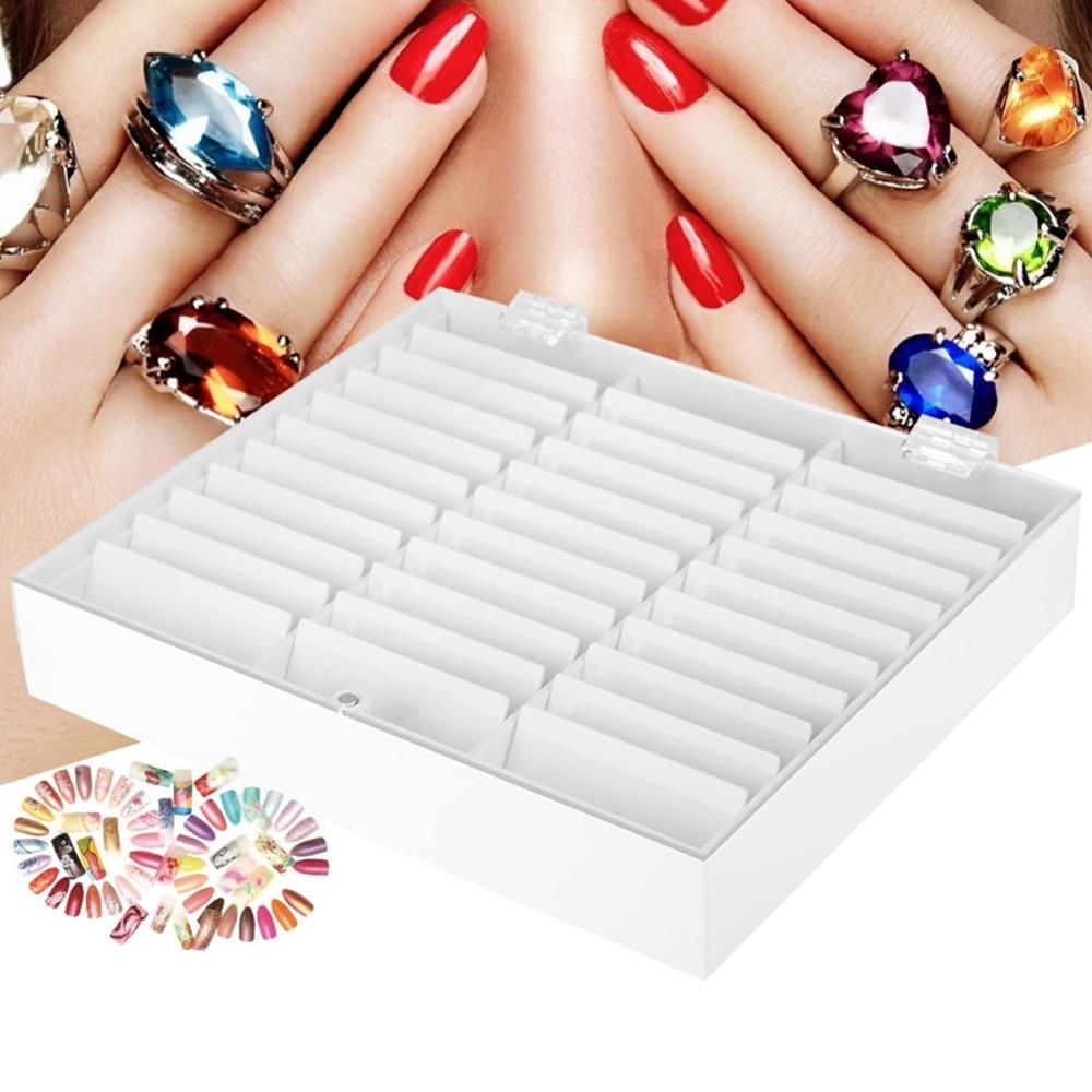 33 grades vazio prego arte caixa de armazenamento caso titular  caixa do prego para dicas jóias brincos grânulo recipiente unhas  manicure comprimidos organizadorCestos e caixas de armazenamento   -