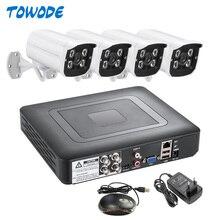 Towode 4CH System kamer CCTV 4 sztuk 1080P AHD DVR 3000TVL IR Night Vision zewnętrzna kamera bezpieczeństwa CCTV zestaw do nadzorowania