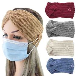Woolen Twist Knitting Women Cross Headband Warmer Ear Button Elastic Hairbands Headwrap Bandage Hair Accessories Autumn Winter