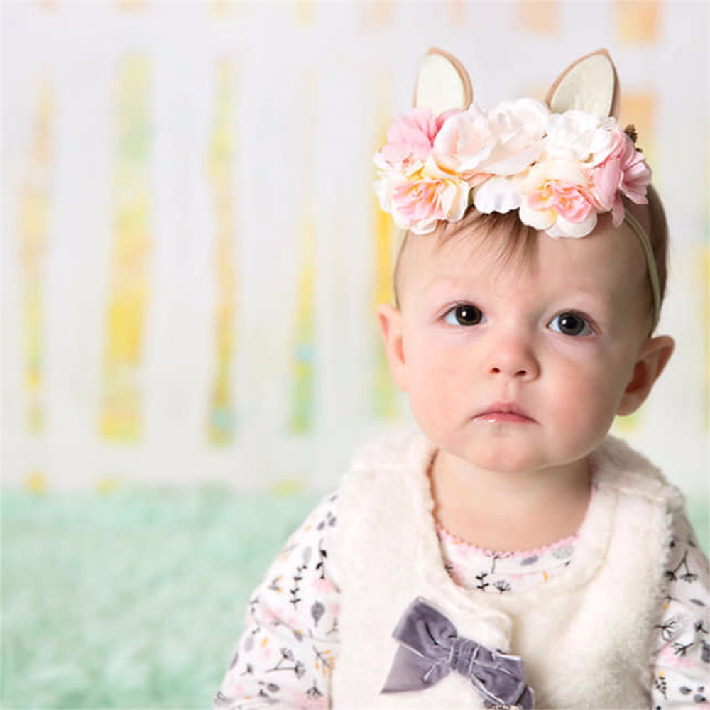 Christmas Bunny Nylon Baby Headban Vintage Easter Hairband Rose Flower Crown Newborns Girl Baby Infant Hair Accessory Kidocheese