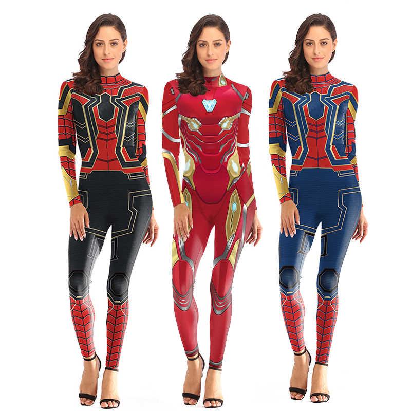 เครื่องแต่งกายSpiderman Captain Marvel Asunaชุดผู้หญิงSuperhero Carnivalเครื่องแต่งกายSpider ManปลอมแฟนซีชุดJumpsuits