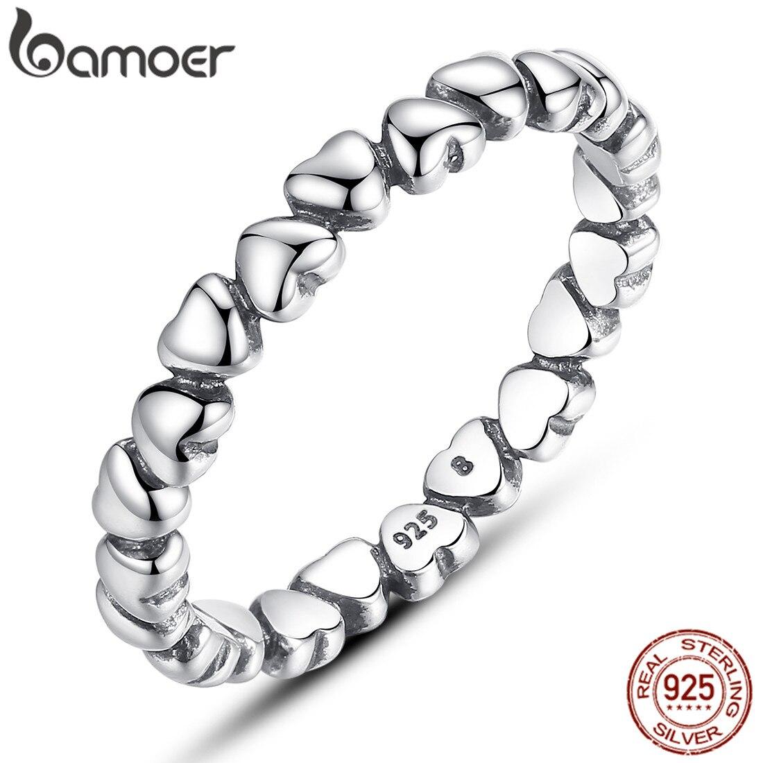 Bamoer Finger-Ring Jewelry FESTIVAL Gift Heart 925-Sterling-Silver GLOBAL Forever Love