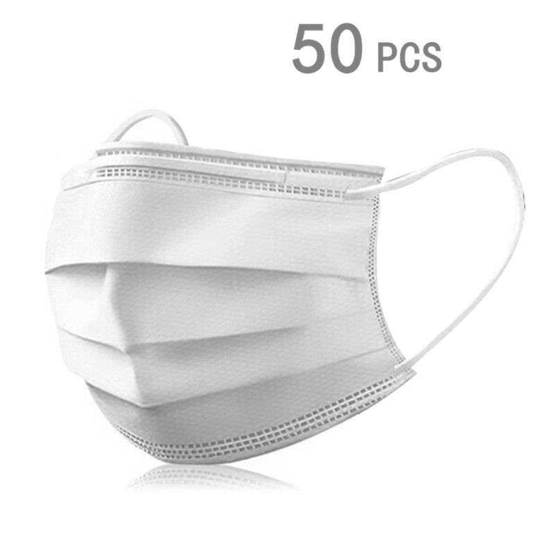 50pcs Disposable Breathable Anti-dust Mask Haze-Proof Safe Face Hypoallergenic Ear Loop Masks White