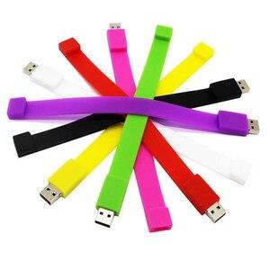 100 unids/lote de 2GB de PVC de colores pulsera usb 2,0 memoria flash stick pen drive