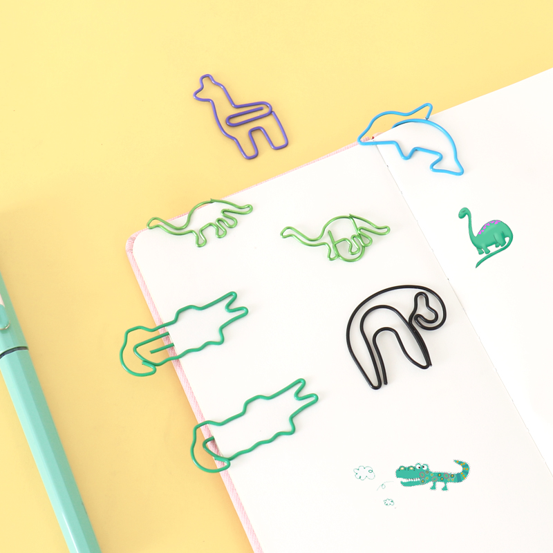 TUTU 10PCS Cute Animal Dinosaur Crocodile Sloths Bookmark Paper Clip School Office Supply Papelaria Gift Stationery H0452