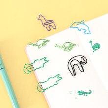 Tutu 10 pçs bonito animal dinossauro crocodilo sloths bookmark clipe de papel escola escritório fornecimento papelaria presente h0452