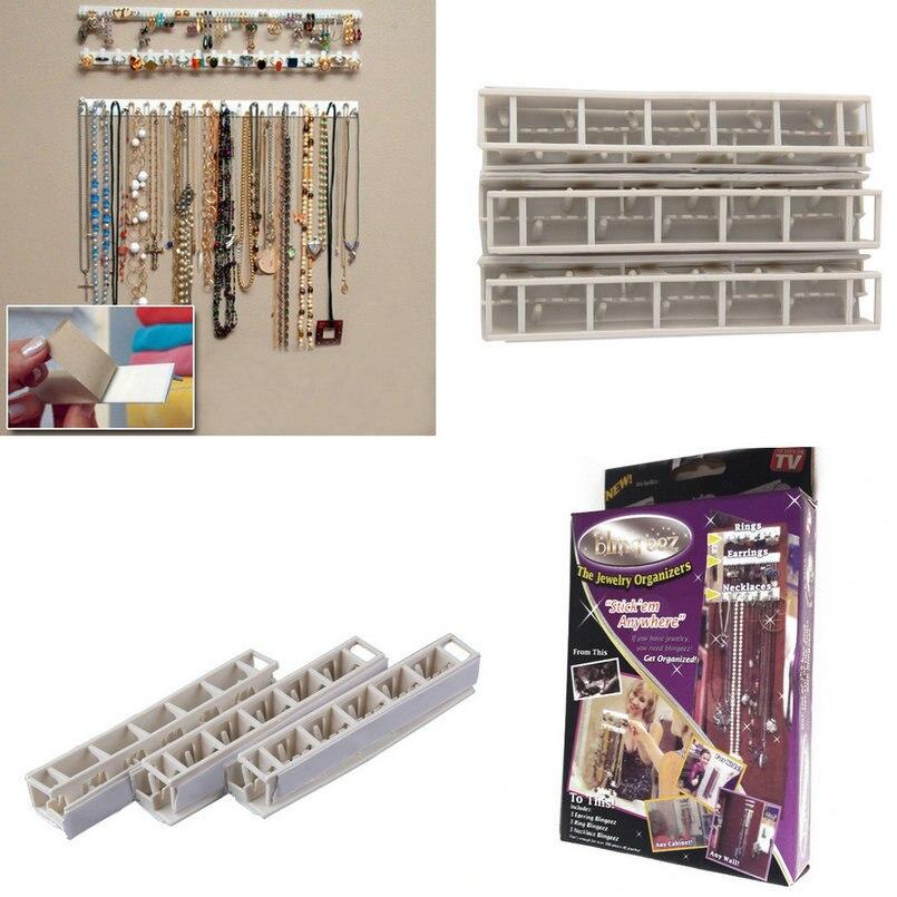 New Plastic Adhesive Jewelry Hanger Holder Organizer Display Sticky Rack-mount Stand Wall Mount Hooks Holder Storage Set