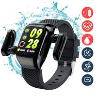 Auriculares TWS con Bluetooth 2 en 1, reloj inteligente a prueba de agua, Auriculares deportivos táctiles para correr y hacer ejercicio